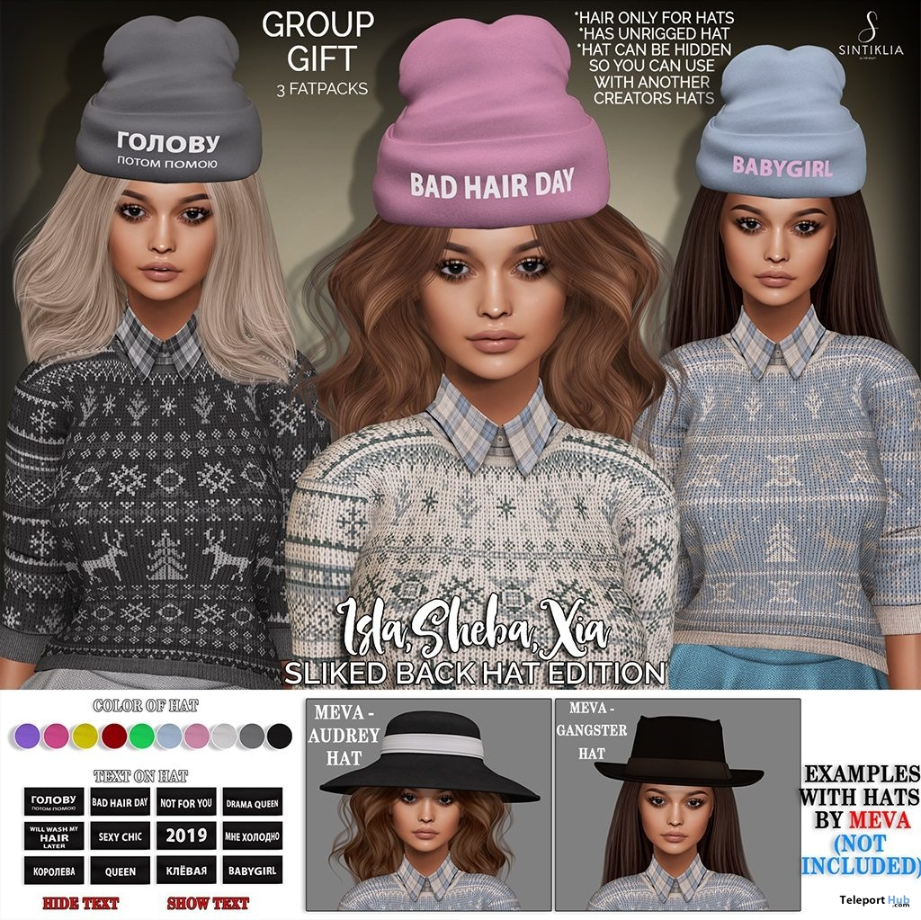 Xia, Sheba, & Isla With Hats January 2019 Group Gift by Sintiklia - Teleport Hub - teleporthub.com