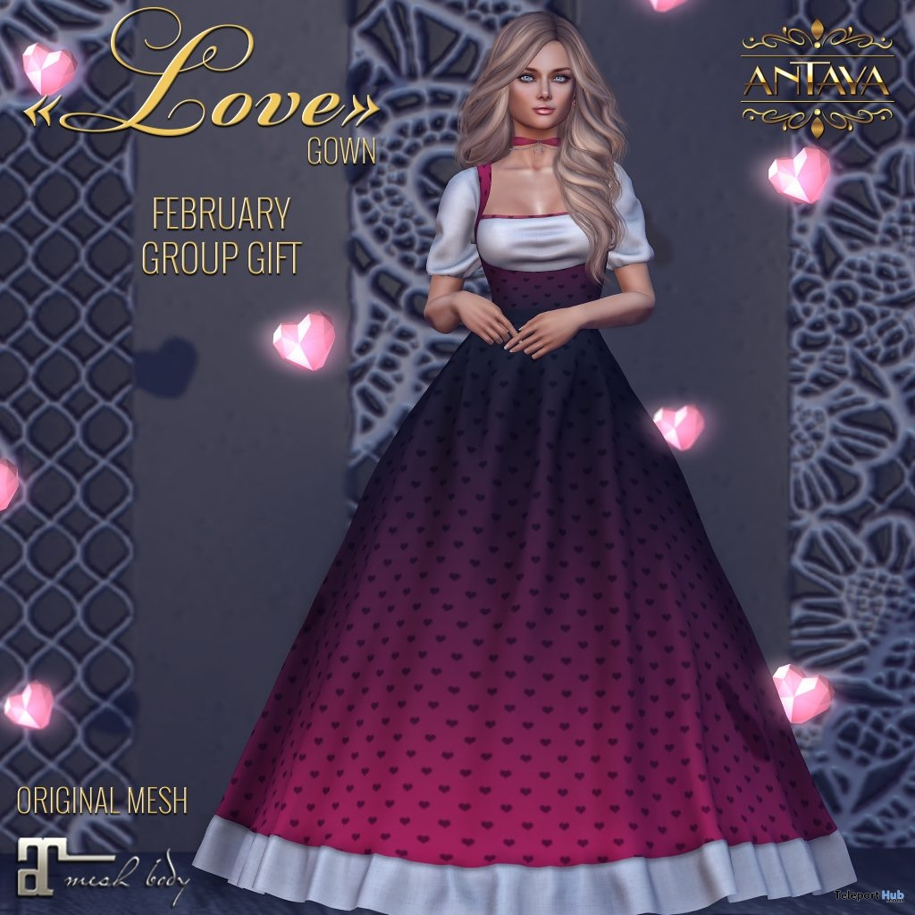 Love Gown February 2019 Group Gift by ANTAYA - Teleport Hub - teleporthub.com
