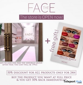 Gaya Make-up Palette For Catwa & Genus Heads February 2019 Group Gift by The Face- Teleport Hub - teleporthub.com