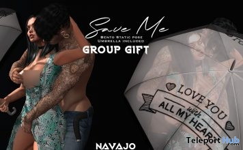 Save Me Couple Bento Pose With Umbrella Prop February 2019 Group Gift by Navajo - Teleport Hub - teleporthub.com