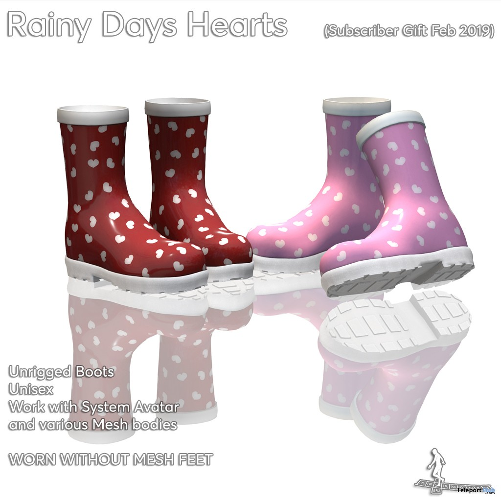 Rainy Days Hearts Boots February 2019 Subscriber Gift by HopScotch - Teleport Hub - teleporthub.com