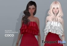 Ruffle Mini Dress Red For MyDoll Avatar February 2019 Group Gift by COCO Designs - Teleport Hub - teleporthub.com