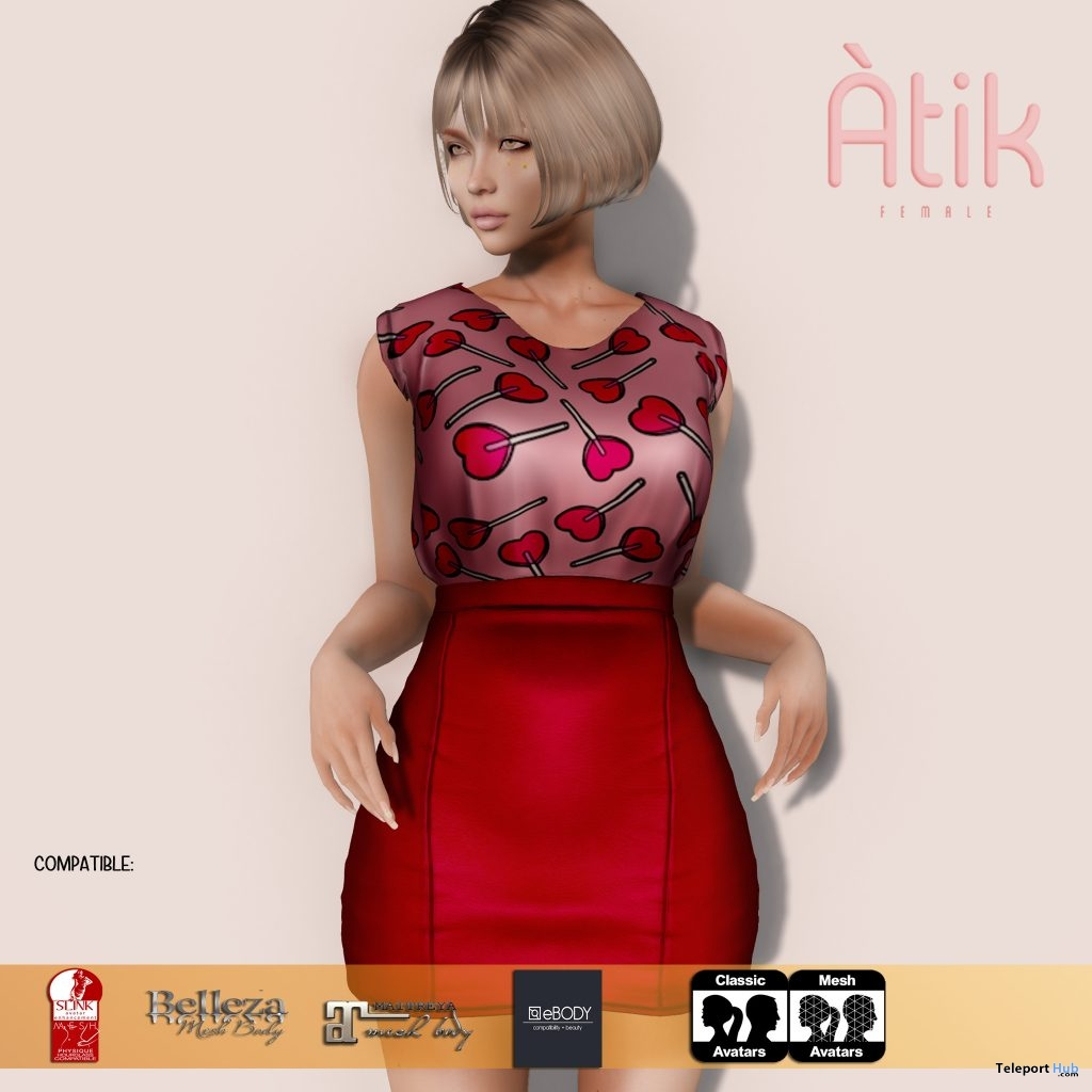 Heart Lollipop Dress February 2019 Group Gift by AtiK - Teleport Hub - teleporthub.com