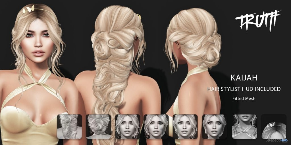 Kaijah Hair Fatpack With Style HUD Group Gift by TRUTH HAIR - Teleport Hub - teleporthub.com