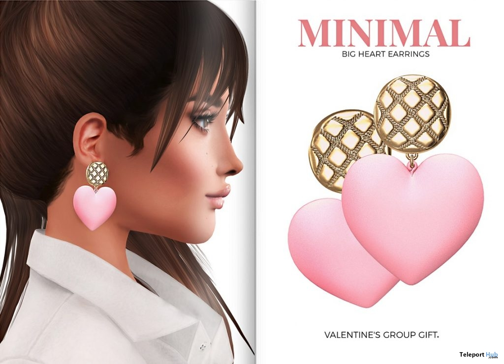 Big Heart Earrings February 2019 Group Gift by MINIMAL - Teleport Hub - teleporthub.com
