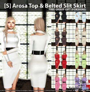 [S] Arosa Top & Belted Slit Skirt Fatpack Group Gift by [satus Inc]- Teleport Hub - teleporthub.com
