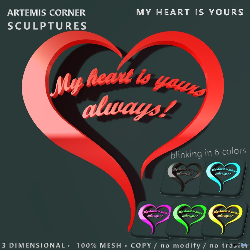 My Heart Is Yours Sign February 2019 Group Gift by Artemis Corner Sculptures- Teleport Hub - teleporthub.com