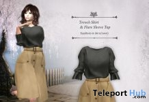 Camel Trench Skirt & Black Flare Sleeve Top March 2019 Group Gift by S@BBiA - Teleport Hub - teleporthub.com