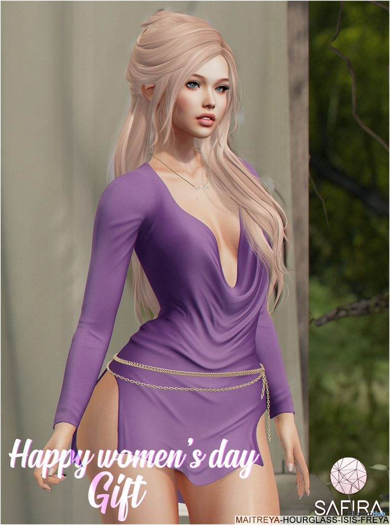 Nata Purple Dress & Belt International Women's Day 2019 Group Gift by Safira - Teleport Hub - teleporthub.com
