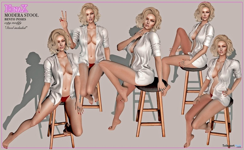 Modera Stool With Bento Poses March 2019 Group Gift by NinaX - Teleport Hub - teleporthub.com