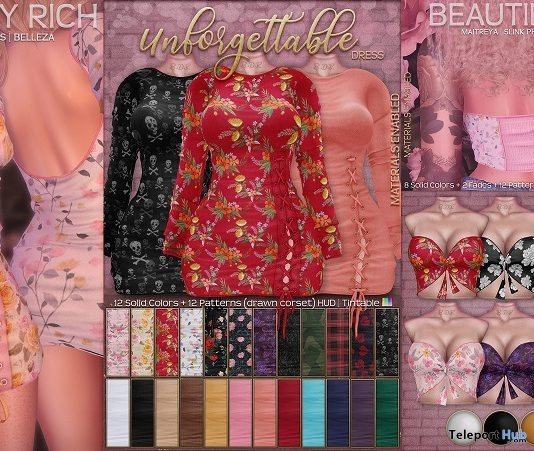 Unforgettable Dress & Spring Break Crop Top Fatpack March 2019 Group Gifts by Beautiful Dirty Rich- Teleport Hub - teleporthub.com