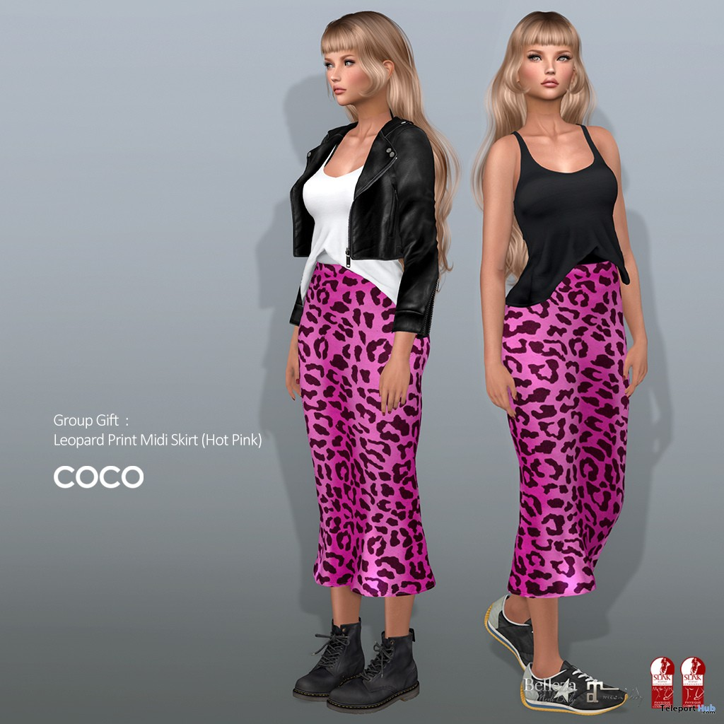 Leopard Print Midi Skirt Hot Pink March 2019 Group Gift by COCO Designs - Teleport Hub - teleporthub.com