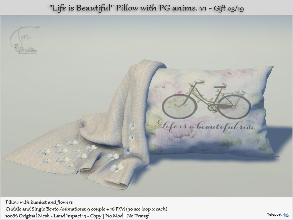 Life is Beautiful Pillow With Animations March 2019 Group Gift by Tm Creation- Teleport Hub - teleporthub.com
