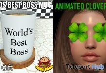 World's Best Boss Mug & Animated Clover Eyes March 2019 Group Gift by Junk Food - Teleport Hub - teleporthub.com