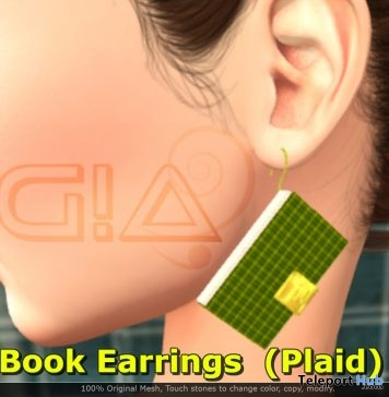 Book Earrings Plaid March 2019 Group Gift by G!A- Teleport Hub - teleporthub.com