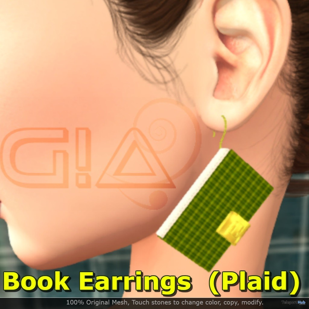 Book Earrings Plaid March 2019 Group Gift by G!A - Teleport Hub - teleporthub.com
