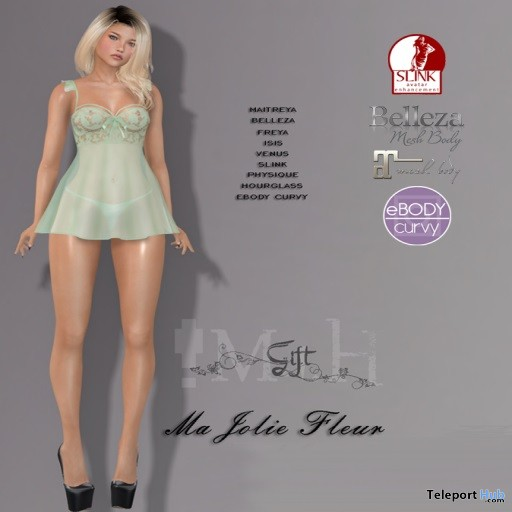 Ma Jolie Fleur Lingerie Set March 2019 Group Gift by Mutiny in Heaven- Teleport Hub - teleporthub.com