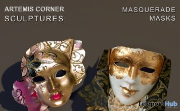 Masquerade Masks March 2019 Group Gift by Artemis Corner Sculptures- Teleport Hub - teleporthub.com