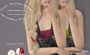 Daisy Patched Denim Mini Overall March 2019 Group Gift by Mutiny in Heaven- Teleport Hub - teleporthub.com