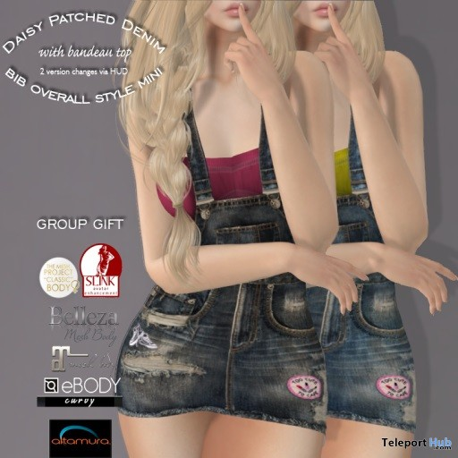 Daisy Patched Denim Mini Overall March 2019 Group Gift by Mutiny in Heaven - Teleport Hub - teleporthub.com