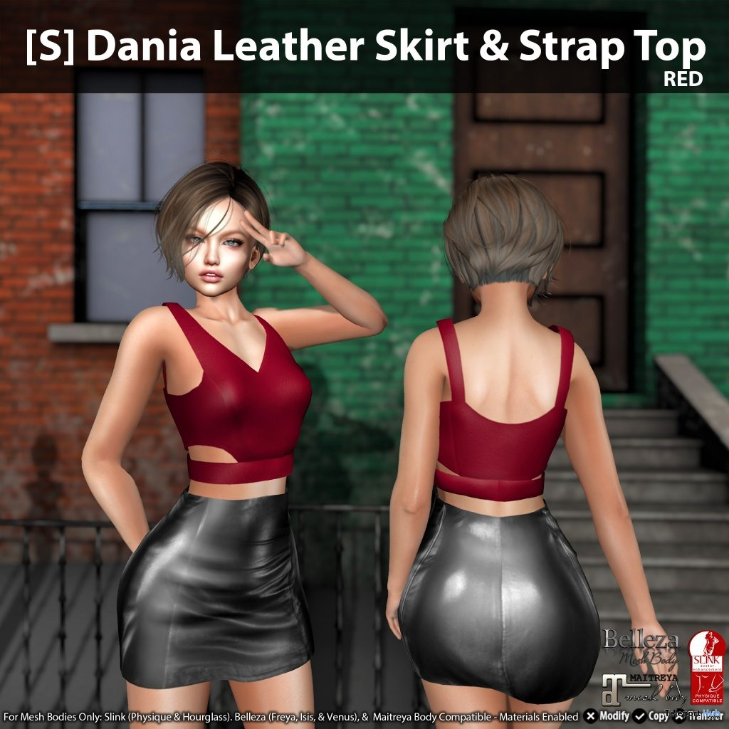 New Release: [S] Dania Leather Skirt & Strap Top by [satus Inc] - Teleport Hub - teleporthub.com