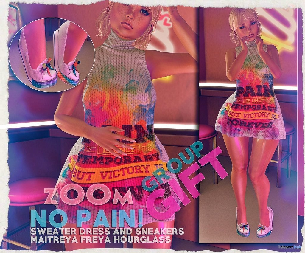 No Pain Sweater Dress & Sneakers April 2019 Group Gift by zOOm- Teleport Hub - teleporthub.com