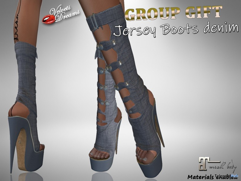 Jersey Boots Denim April 2019 Group Gift by Velvets Dreams - Teleport Hub - teleporthub.com