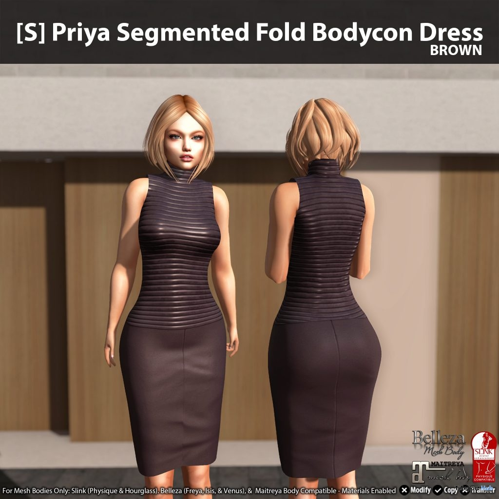New Release: [S] Priya Segmented Fold Bodycon Dress by [satus Inc] - Teleport Hub - teleporthub.com