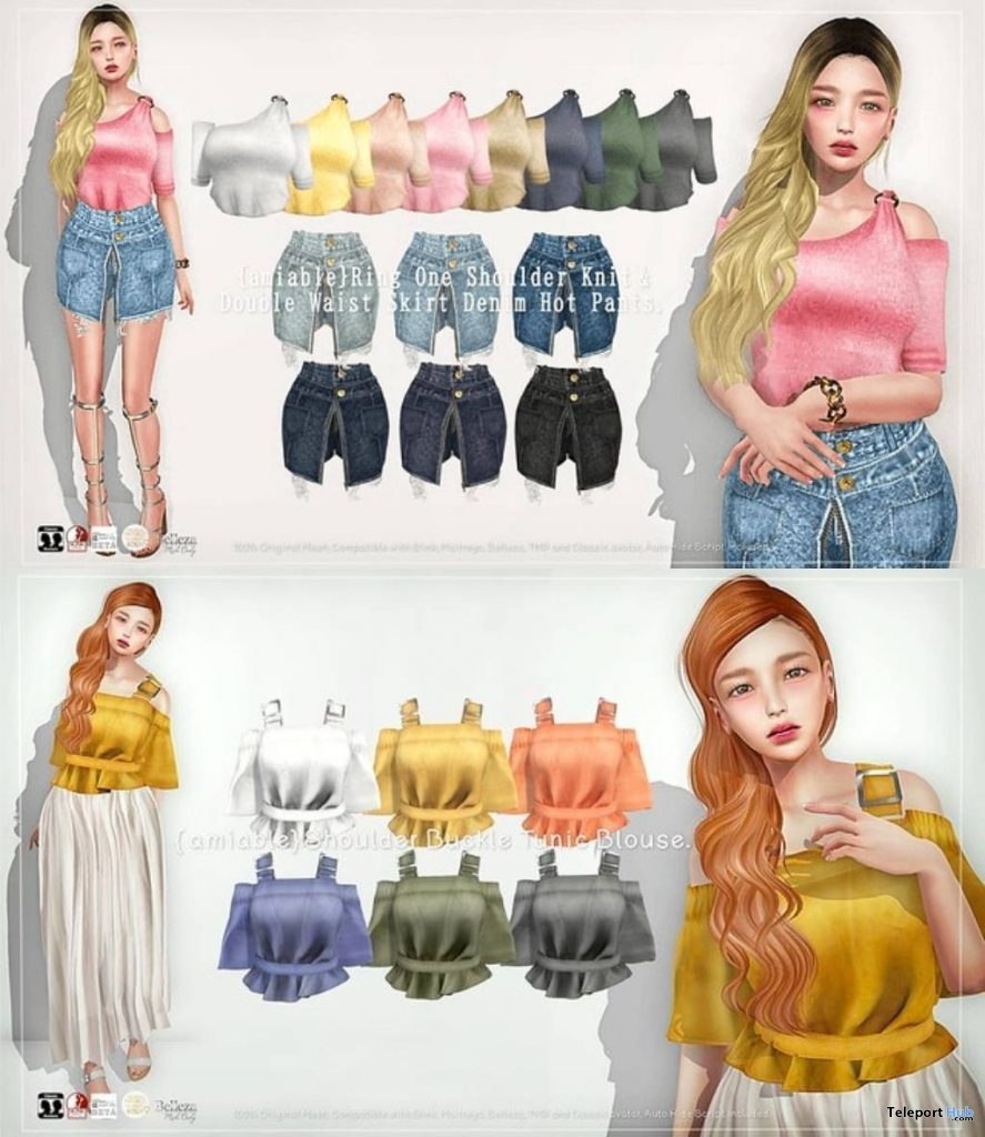 Tunic Blouse, One-shoulder, & Denim Hot Pants 50% Off Promo by {amiable} @ N21 April 2019 - Teleport Hub - teleporthub.com