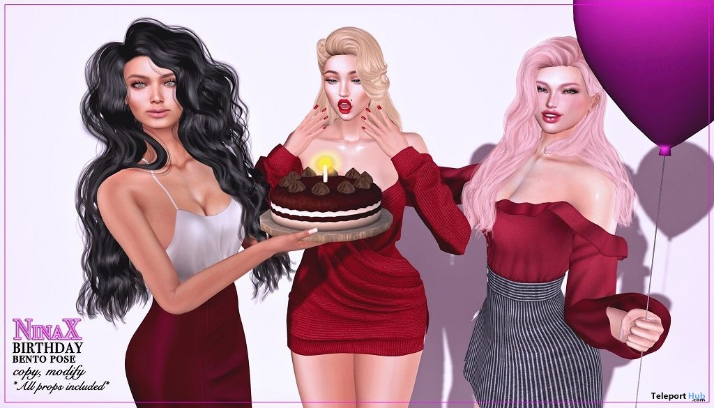 Birthday Bento Pose & Prop May 2019 Group Gift by NinaX - Teleport Hub - teleporthub.com