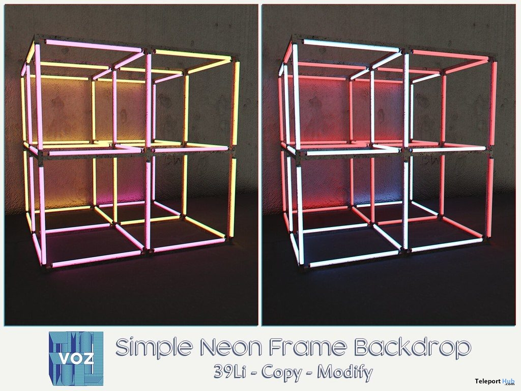 Simple Neon Frame Backdrop May 2019 Group Gift by VO.Z- Teleport Hub - teleporthub.com