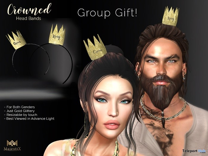 Crown Headband Gold Unisex May 2019 Group Gift by MajestiX - Teleport Hub - teleporthub.com