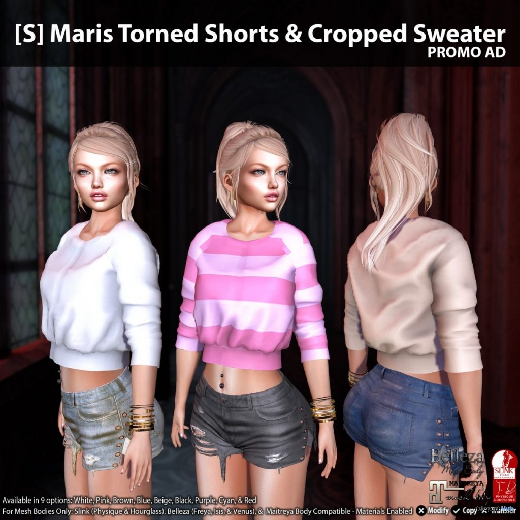New Release: [S] Maris Torn Shorts & Cropped Sweater by [satus Inc] - Teleport Hub - teleporthub.com