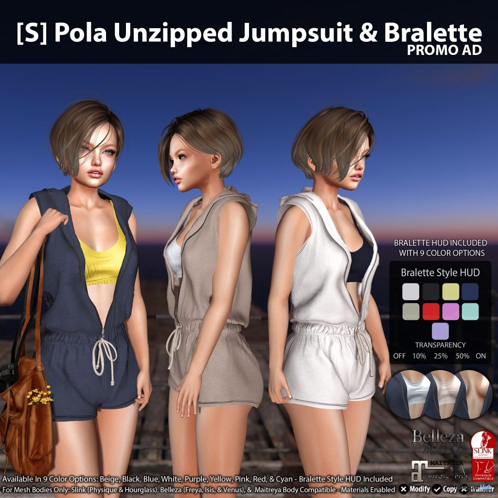 New Release: [S] Pola Unzipped Jumpsuit & Bralette by [satus Inc] - Teleport Hub - teleporthub.com