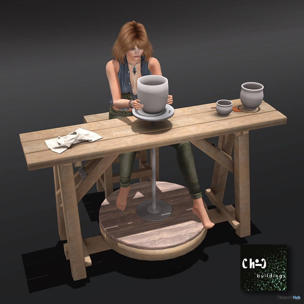 Pottery Table With Pot and Clutter 25% Off Promo by ChiC buildings- Teleport Hub - teleporthub.com