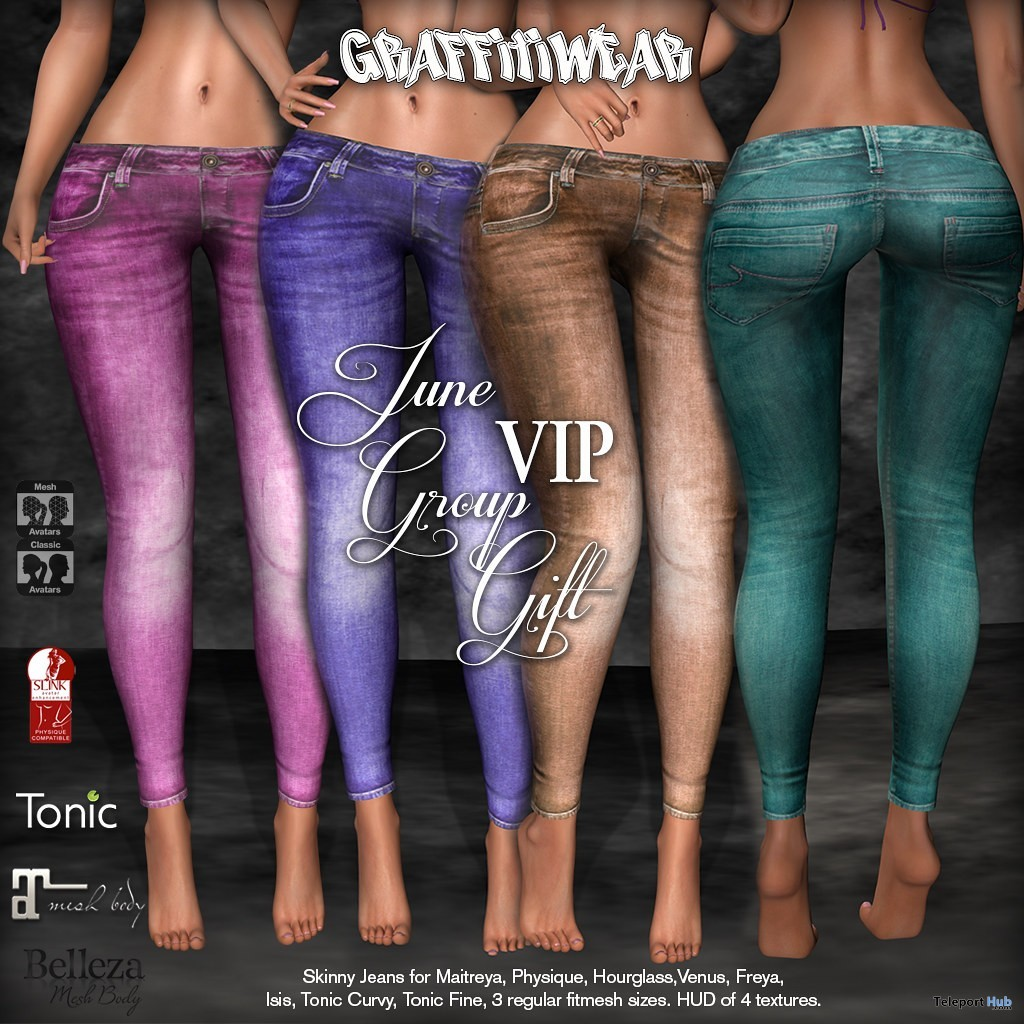 Skinny Jeans Pack June 2019 Group Gift by Graffitiwear - Teleport Hub - teleporthub.com