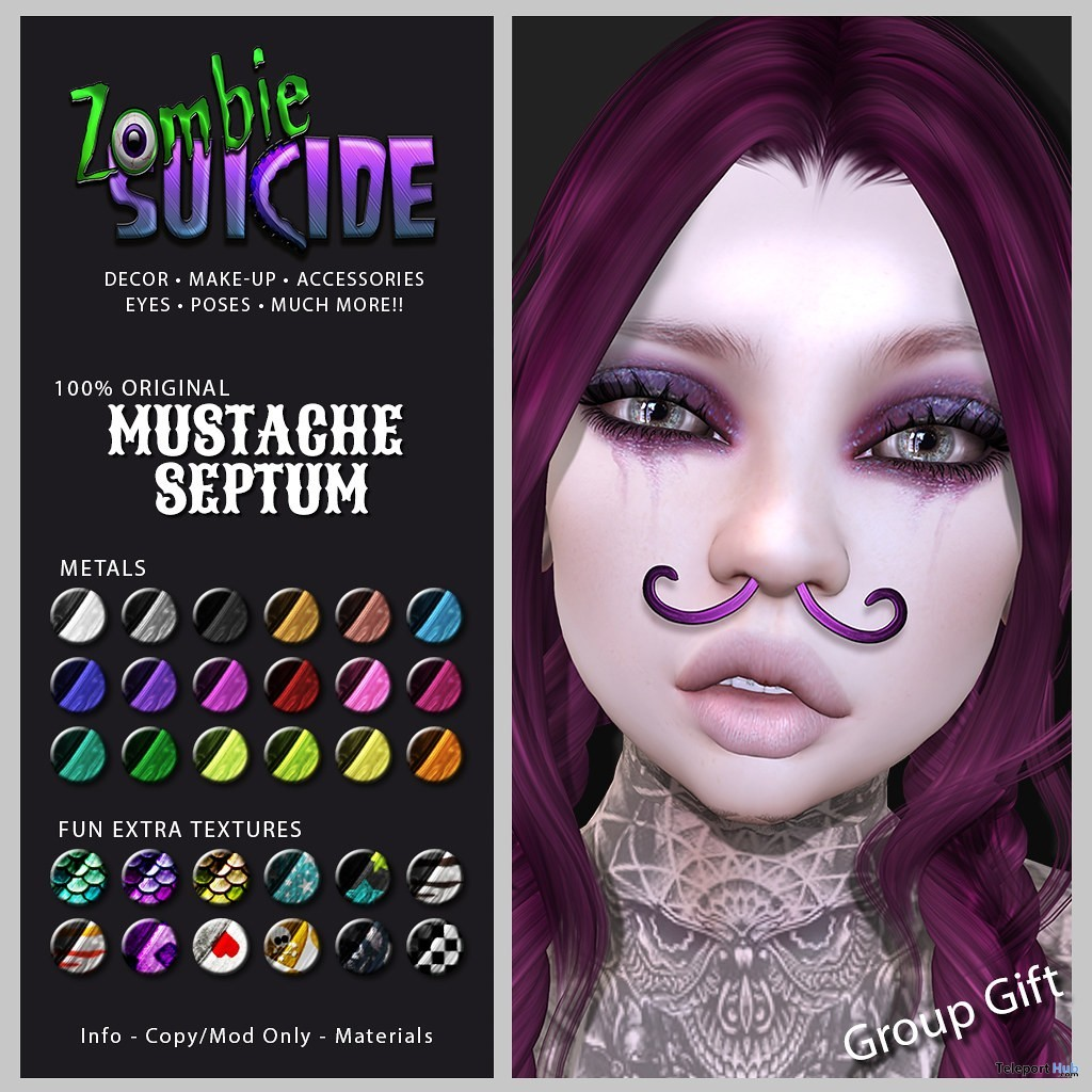 Mustache Septum Piercing Fatpack June 2019 Group Gift by Zombie Suicide- Teleport Hub - teleporthub.com