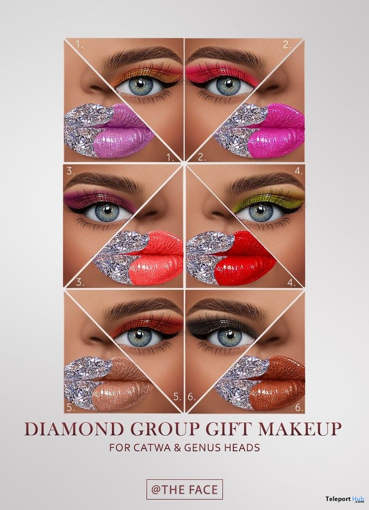 Diamond Makeup Pack For Catwa & Genus Heads June 2019 Group Gift by The Face- Teleport Hub - teleporthub.com