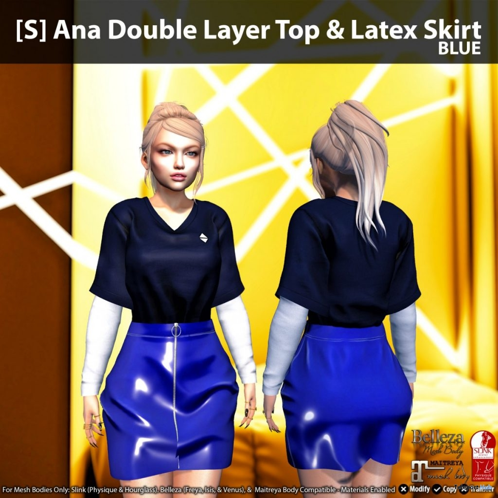 New Release: [S] Ana Double Layer Top & Latex Skirt by [satus Inc] - Teleport Hub - teleporthub.com