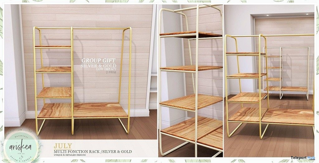 Multi Function Rack Silver & Gold July 2019 Group Gift by Ariskea- Teleport Hub - teleporthub.com