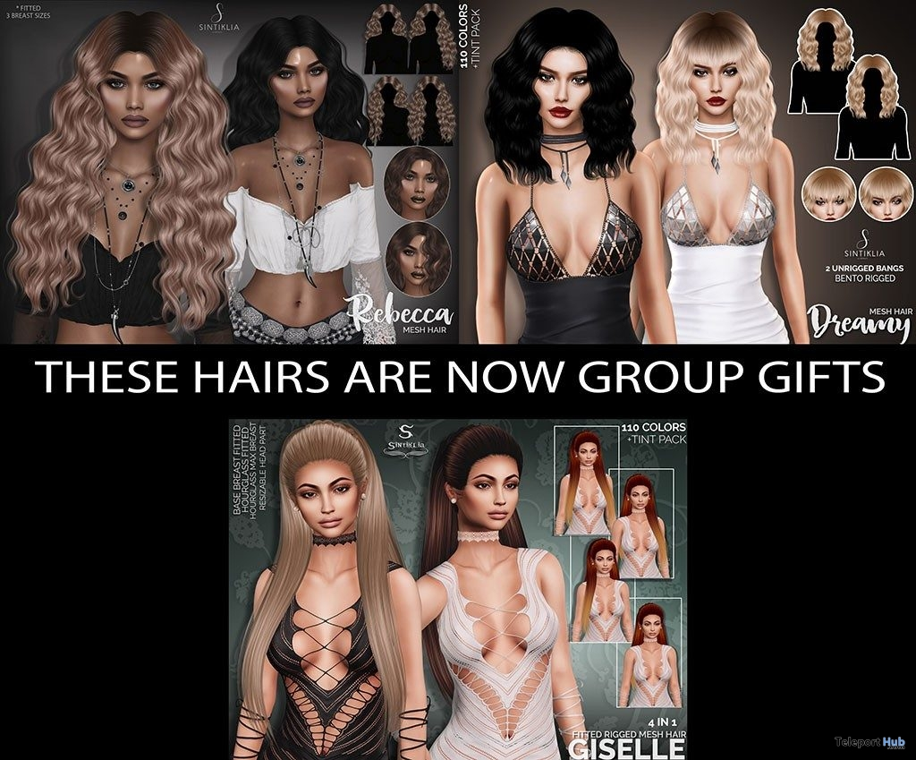 Rebecca, Dreamy, & Giselle Hair Fatpack July 2019 Group Gift by Sintiklia- Teleport Hub - teleporthub.com