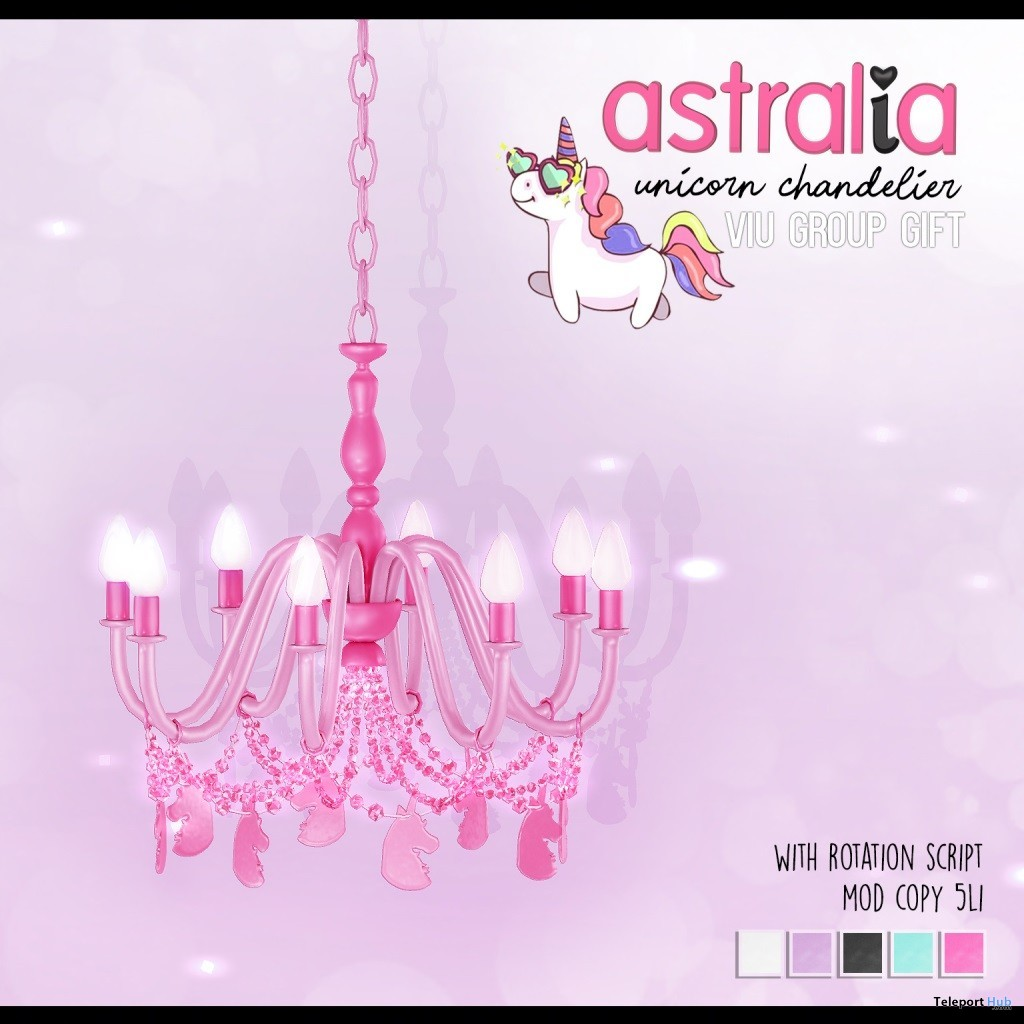 Unicorn Chandelier August 2019 Group Gift by Astralia - Teleport Hub - teleporthub.com