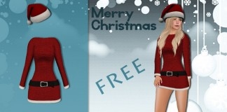 Mesh Miss Santa Outfit by Blueberry - Teleport Hub - teleporthub.com
