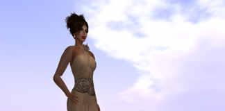 Goddess Jewels Champagne Gown by Paris METRO Couture - Teleport Hub - teleporthub.com