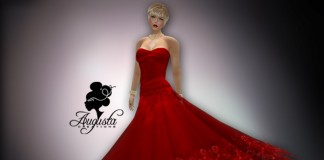 Elegant Dress in Silk Red by Augusta Fride - Teleport Hub - teleporthub.com
