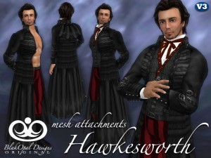 Hawkesworth Outfit Black with Mesh Attachments by BlakOpal Designs - Teleport Hub - teleporthub.com