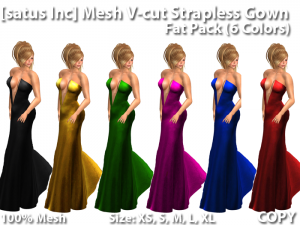 Mesh V-cut Strapless Gown - Valentine Red Group Gift by [satus Inc] - Teleport Hub - teleporthub.com