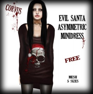 Evil Santa Asymmetric Minidress by Corvus - Teleport Hub - teleporthub.com