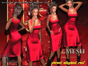 Mesh Sweet Elegance Red Dress by Sandra Serin - Teleport Hub - teleporthub.com