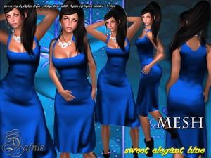 Mesh Sweet Elegance Blue Dress by Sandra Serin  - Teleport Hub - teleporthub.com